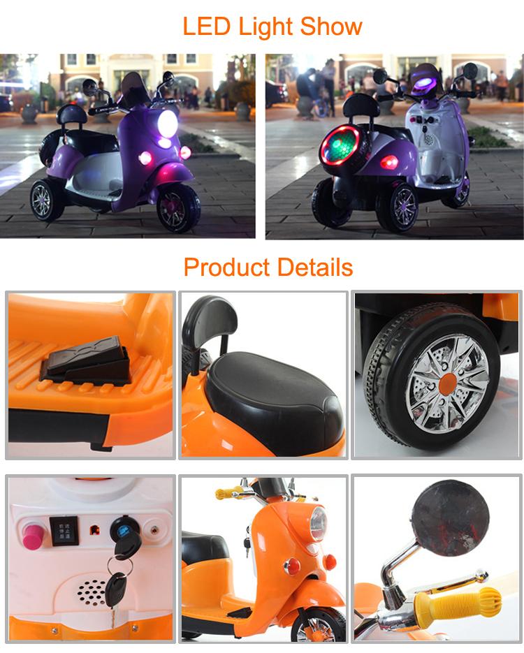CE certificate Three wheel toy girls electric motorbike / motorcycle battery car kids ride on / electric motorcycle scooter kids