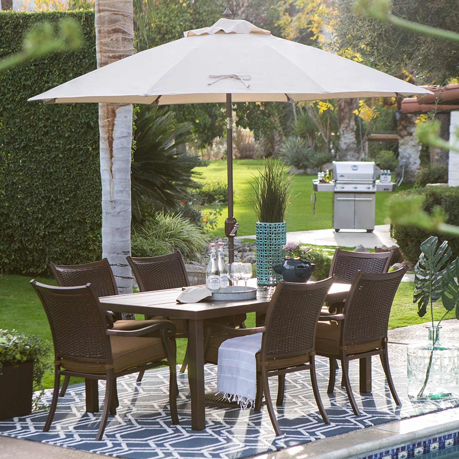 Brown Modern Patio Woven Back Dining Chair & Steel Slatted Table Set | Contemporary Furniture to any Home Outdoor by the Veranda, Porch, Pool or Deck
