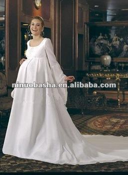 Elegant Floor Length Empire Satin Pregnant Wedding Dress