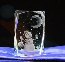 3d laser engraved crystal christmas ornaments 2016