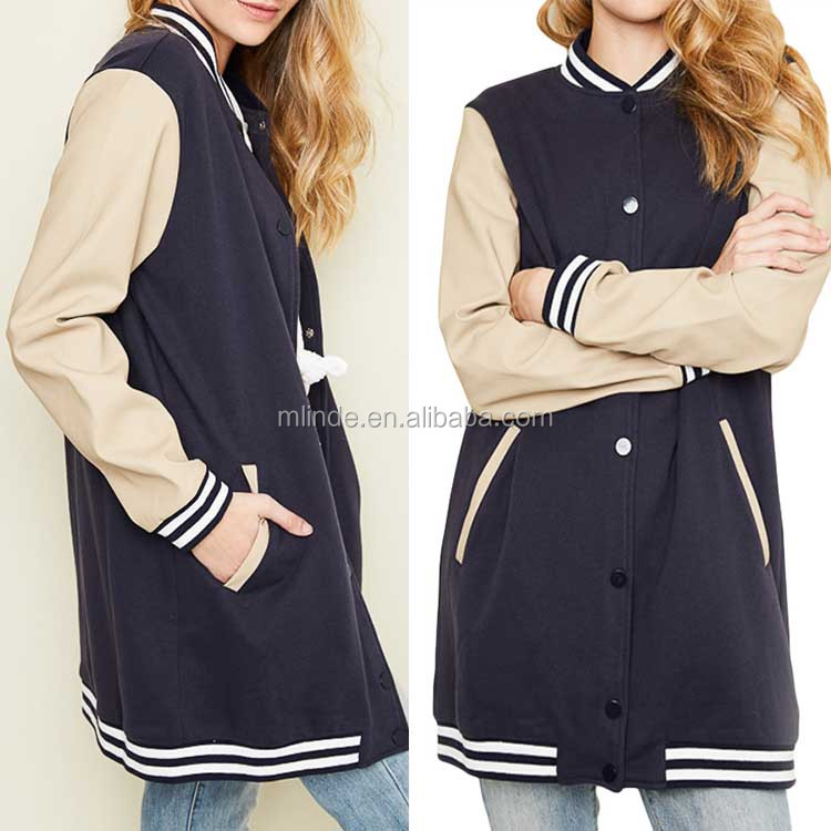 fashion winter spring Australia Brazil plain satin bomber sailor custom women blank long varsity jacket with leather sleeve
