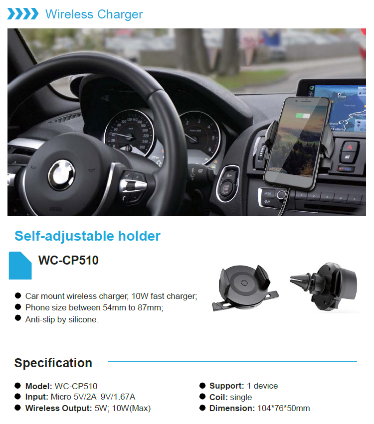 TOP selling products 10W Wireless Car Mount Charger Fast Charging Air Vent Car Wireless Charger