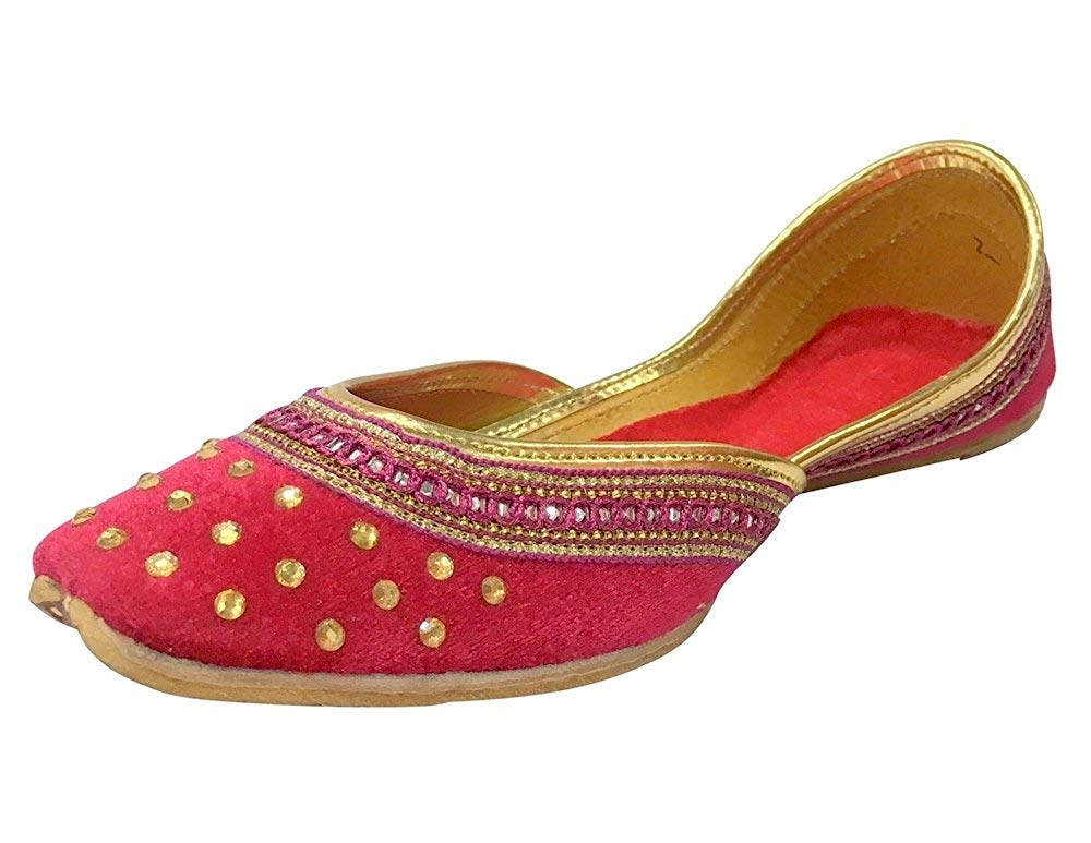 Bollywood Fashion Royal Blue Beaded Flats Belly Dance Shoes Indian Khussa