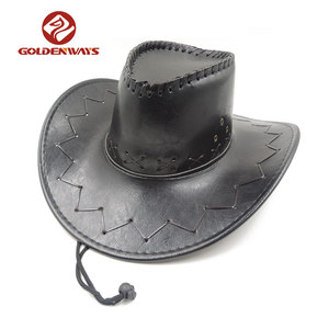 factory Solid black men's leather cowboy hard hat with bsci