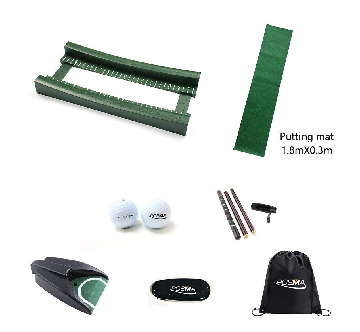 7a80f3d41f44 Get Quotations · POSMA PG100E Golf Easy Carry Putting Training Short Track  Gift Set with Golf Putting Training Laser