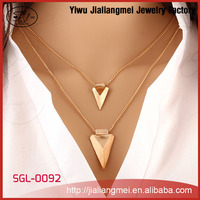 Gold Plated 2 Layers Women Anchor Locket Pendant Necklace