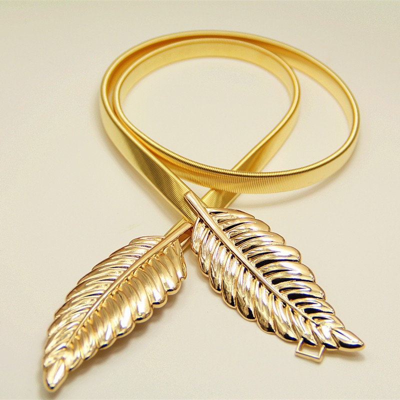C86128A new vintage accessorie europe unique design luxury queen maple leaf wide light gold waist elastic belt for women