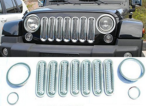 SILVER Opall Honeycomb Matte Mesh Front Grill Grille Inserts Cover Kit For 2014-2016 Jeep Grand Cherokee 7PC