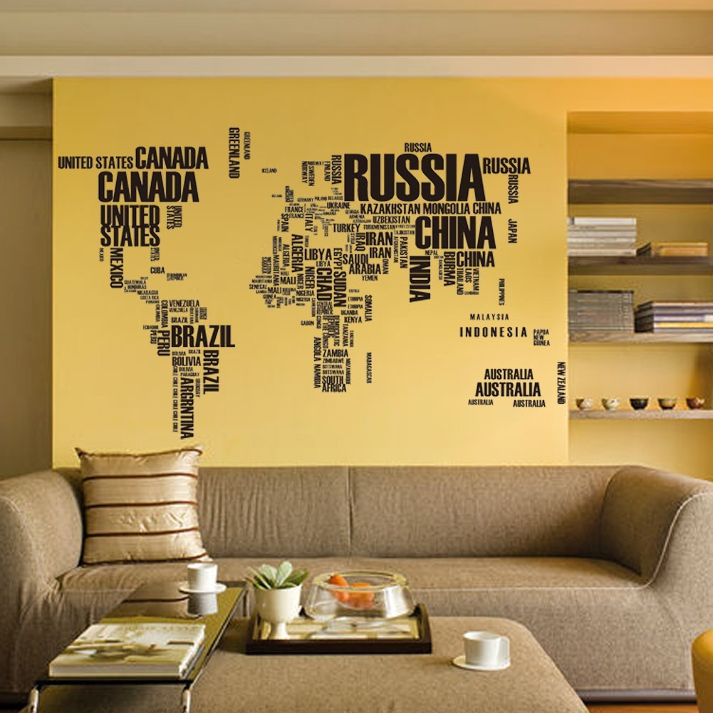 Buy Yakamoz English Words World Map Wall Art Globe Earth Country ...