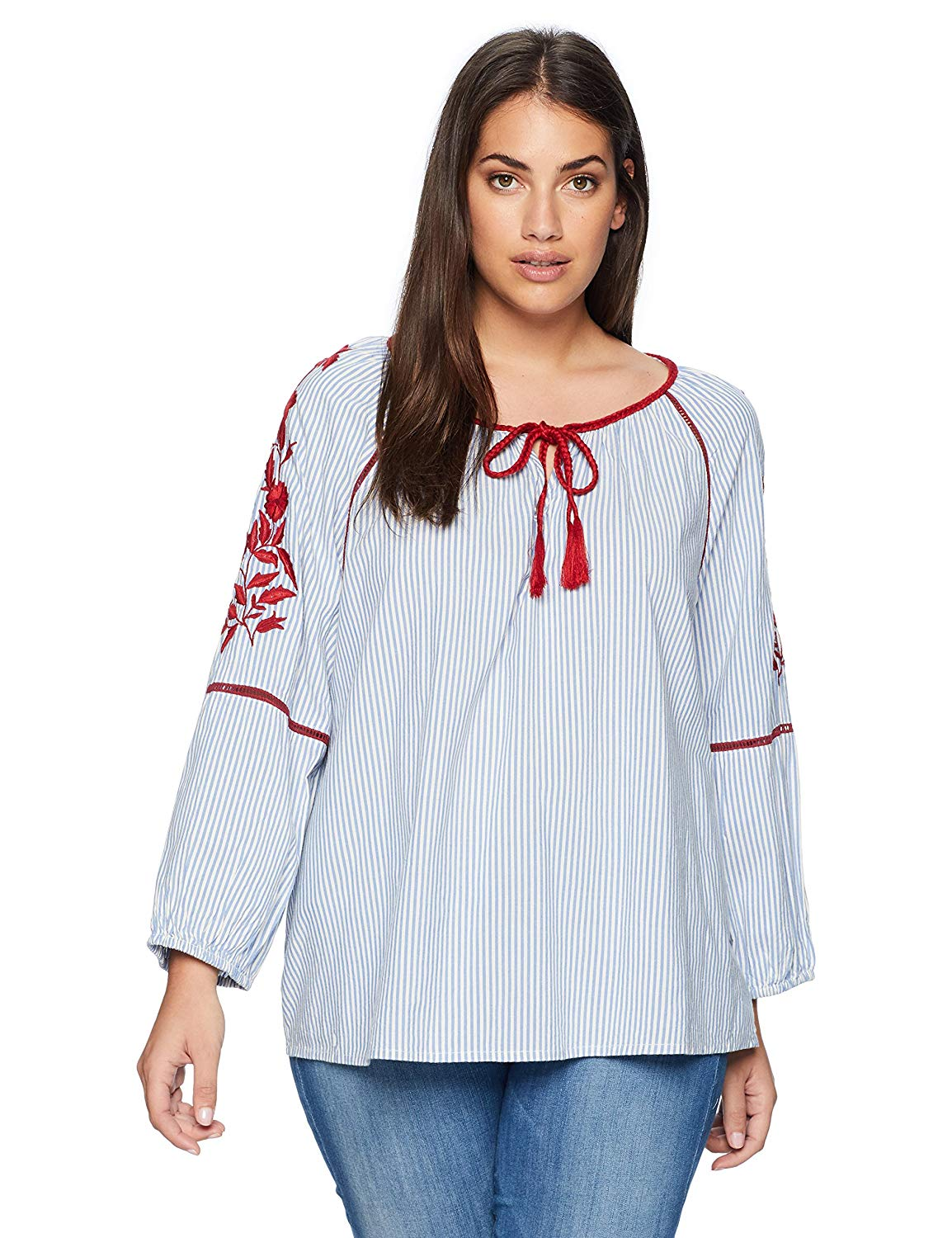 5748407c4d4 Get Quotations · Vintage America Blues Women s Plus Size Dylan Stripe Peasant  Top with Embroidery