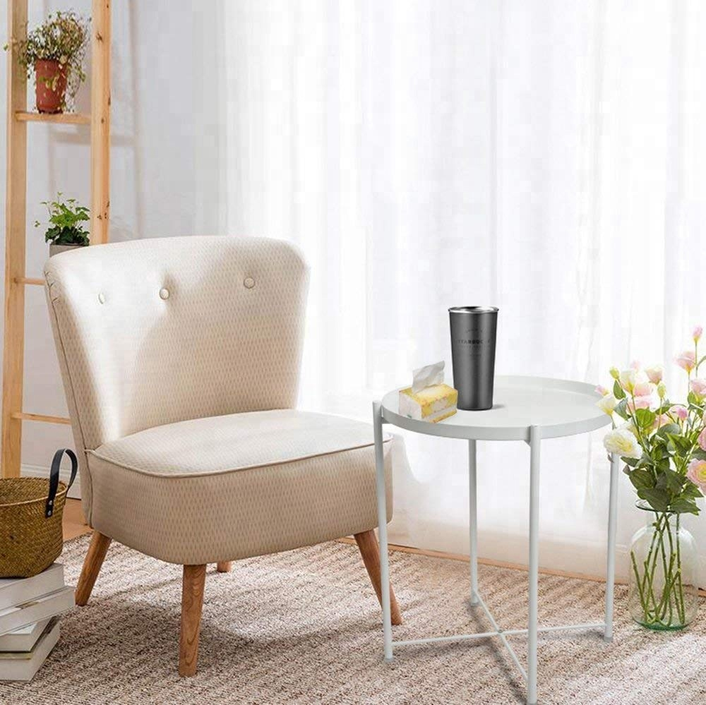 Wrought Iron Small Folding Round Corner Table Side