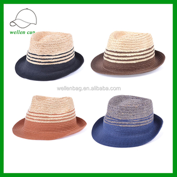 3ea137057fe Cheap Colorful Paper Straw Mens Fedora Hats With Logo Ribbon Woven Paper Hat