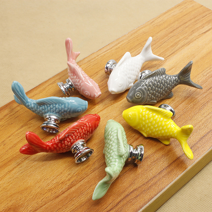 modern furniture hardware fish design cabinet knobs