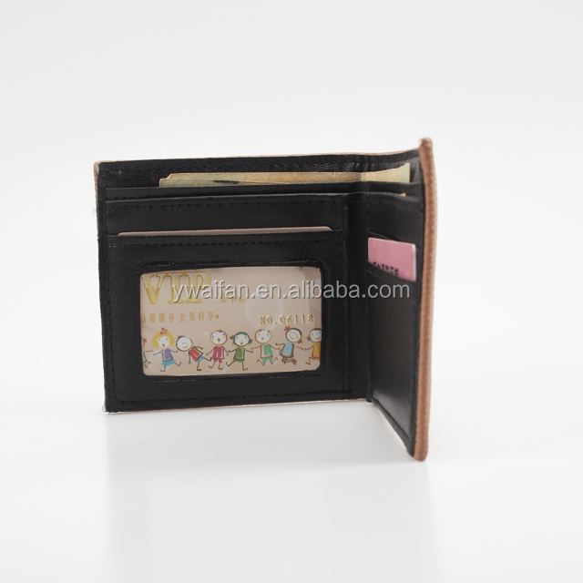 Online Custom Cheap Rfid Men PU Leather Brown Bifold Men's Wallet