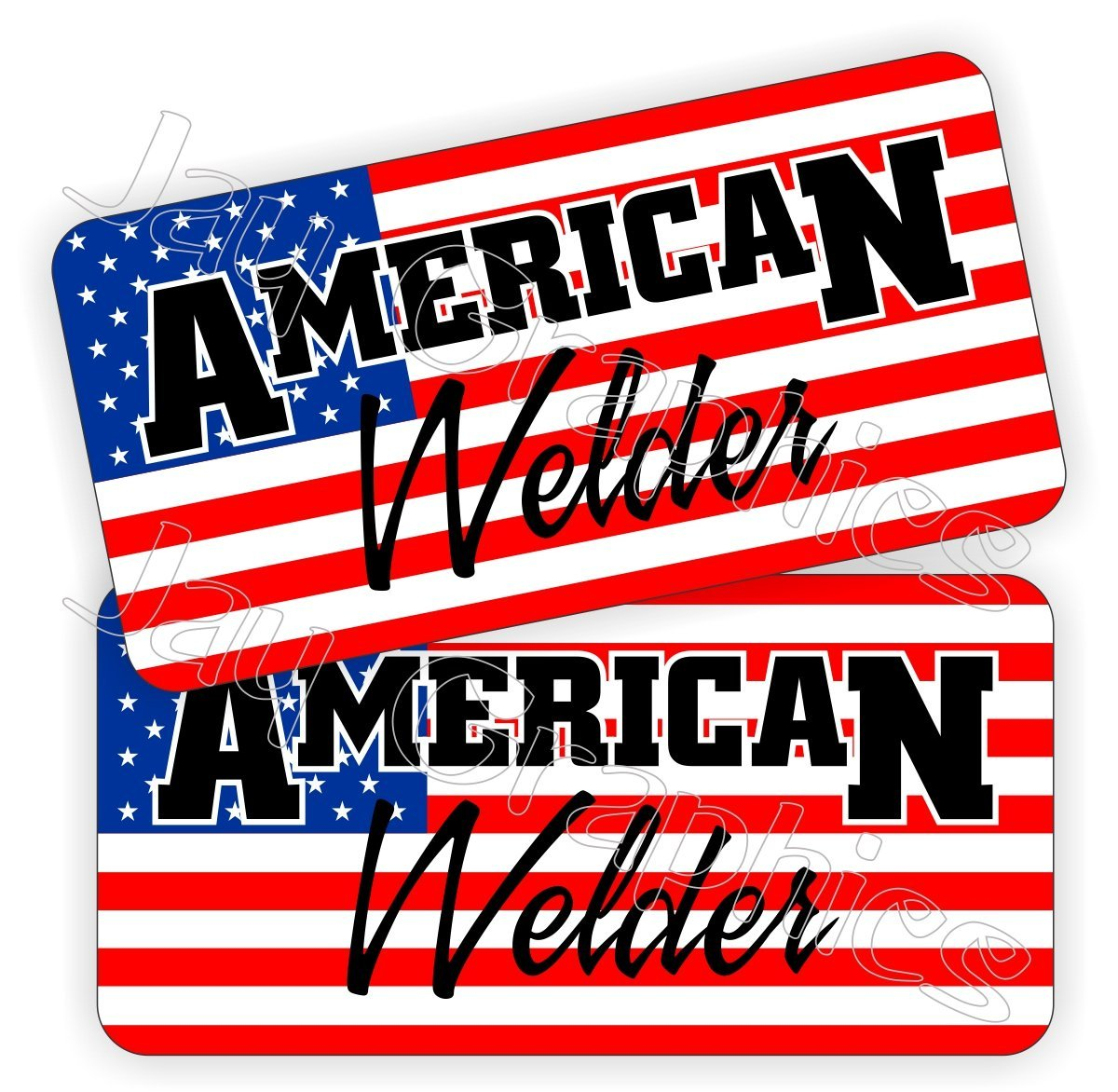 Pair - AMERICAN WELDER Hard Hat Stickers | Vinyl Welding Helmet Decals | Labels Lunch Toolbox Rude Funny Motorcycle Steel Aluminum Metal Tig Mig Stick