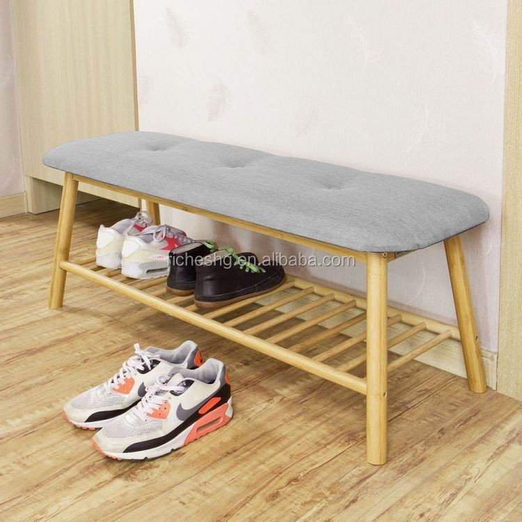 Bamboo Shoe Rack Bench Seat Wooden Display