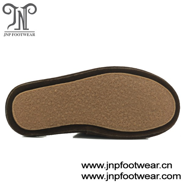 Shearling Lining Leather Mens Backless Slippers