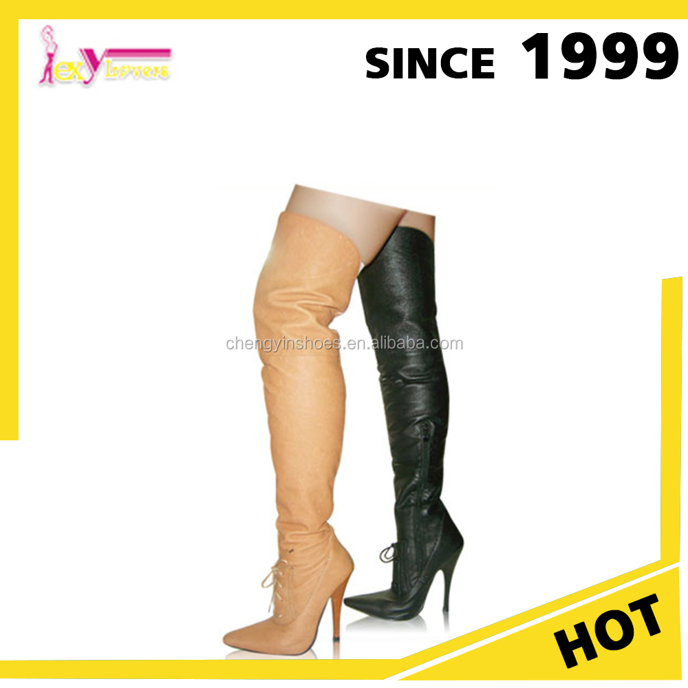 529b6eebc490 China wholesale alibaba pig leather high heel thigh high women sexy long big  size boots shoes