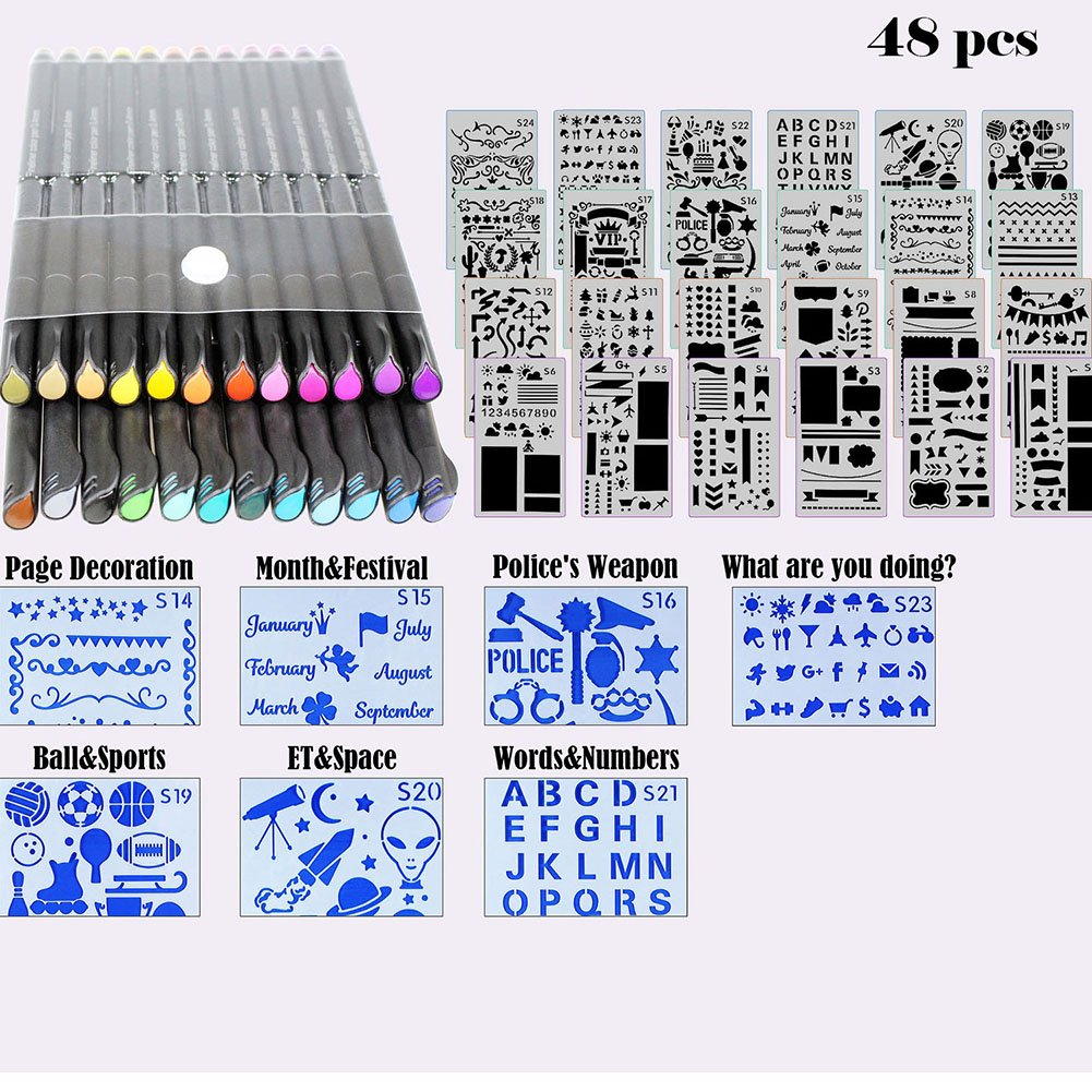 Bullet Journal Stencil Set 8 Pieces Plastic Planner Stencil Template 4x7 Inch for Journaling Notebook Scrapbook Christmas Gift Card and Art Projects with Fineliner Color Pen Set Sirensky Brand