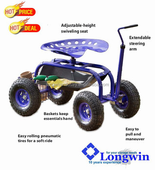 Garden Cart Rolling Work Seat With Tool Tray Wagon Trolley Gardening  Planting