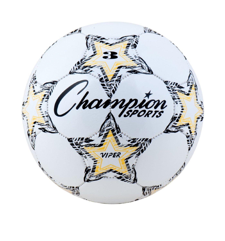 Champion Sports VIPER5 VIPER Soccer Ball, Size 5, White (CSIVIPER5)