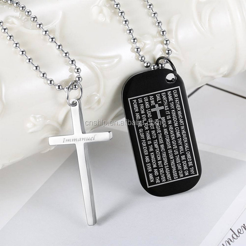 Custom logo engraved stainless steel metal dog tag with cross