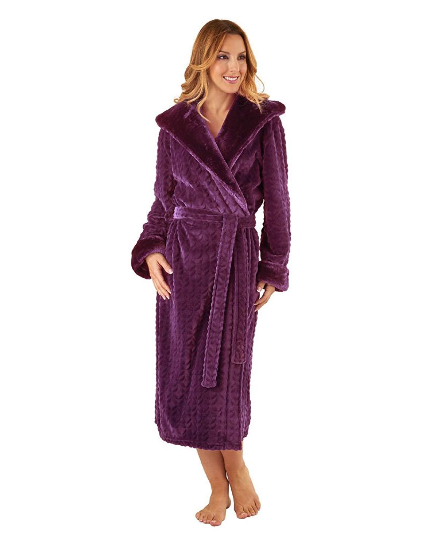 5c18ad6e0e Get Quotations · Slenderella HC8333 Women s Plum Purple Long Sleeve Robe  Dressing Gown