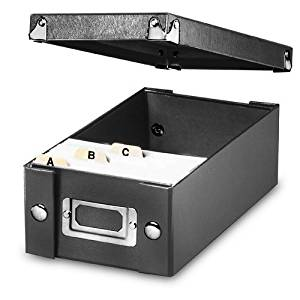 """Snap-N-Store IDESNS01573CT Collapsible 3"""" x 5"""" Index Card File Box, 1,100 Card Capacity, 5-1/8""""W x 8-3/4""""D x 3""""H, 4 Per Carton, Black"""