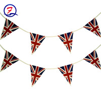 Decorative polyester fabric printed triangle pennant string british union jack bunting flag