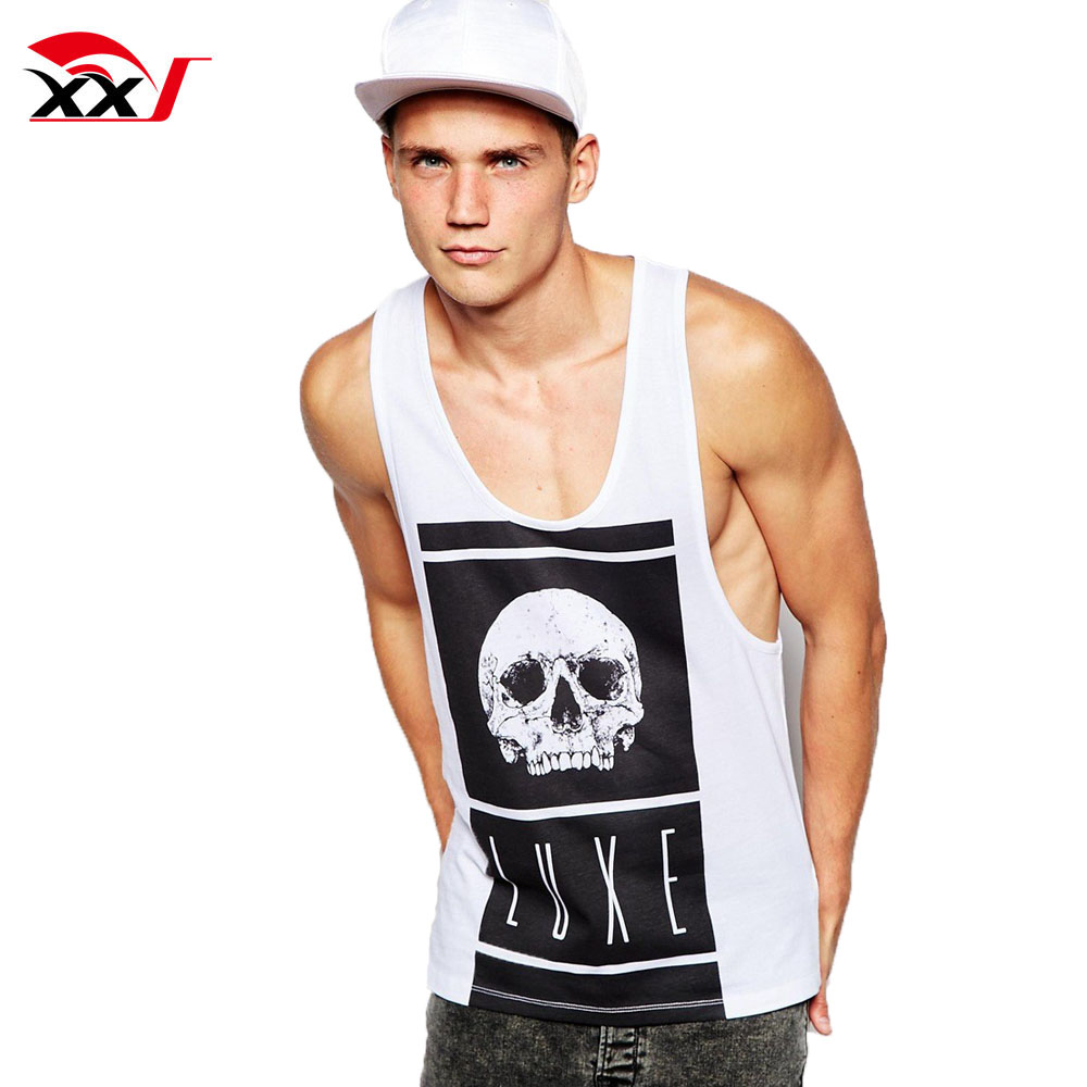 custom 2018 racerback tank tops deep cut gym tank top singlet with skull print y back tank tops for men
