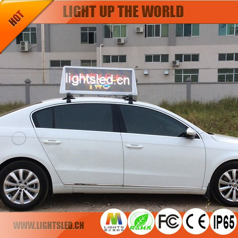 P4A waterproof ads digital led car/taxi roof top advertising signs for sale