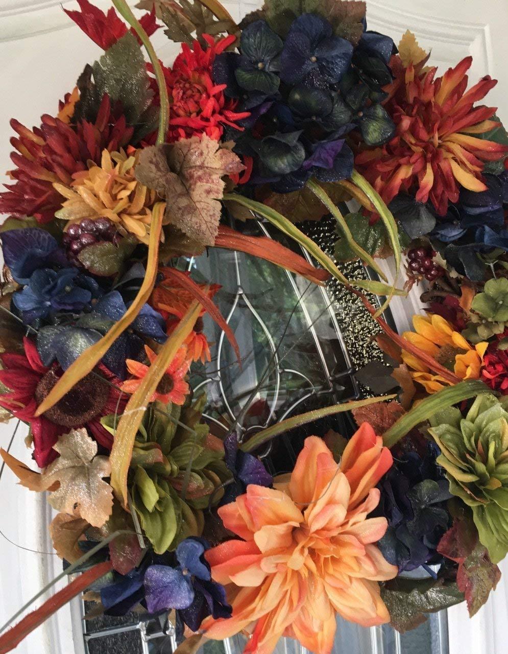 Fall Floral Wreath, Autumn Wreath, Fall Door Wreath, Fall Wreath for Front Door, Floral Wreath, Indoor/Outdoor Wreath,Front Door Wreath, Decorative Wreath
