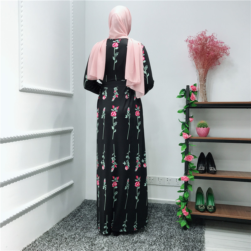 2019 muslim dress fashion floral print jersey abaya in dubai women maxi dress islamic clothing