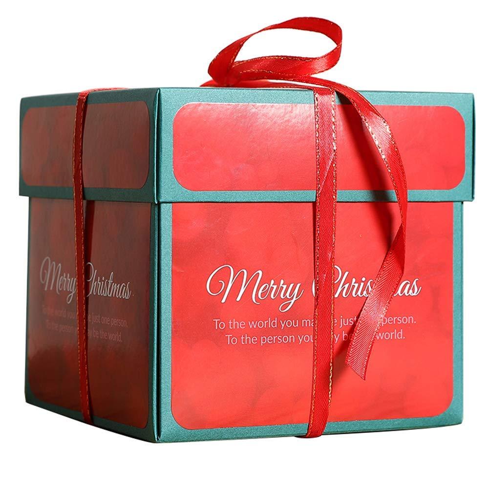"MIYSNEIRN Christmas Creative Explosion Gift Box DIY Explosion Scrapbook Box Album Merry Christmas Exploding Gift Box Explosive Gift Box for Birthday Anniversary Opened with 17.7"" x 17.7"""