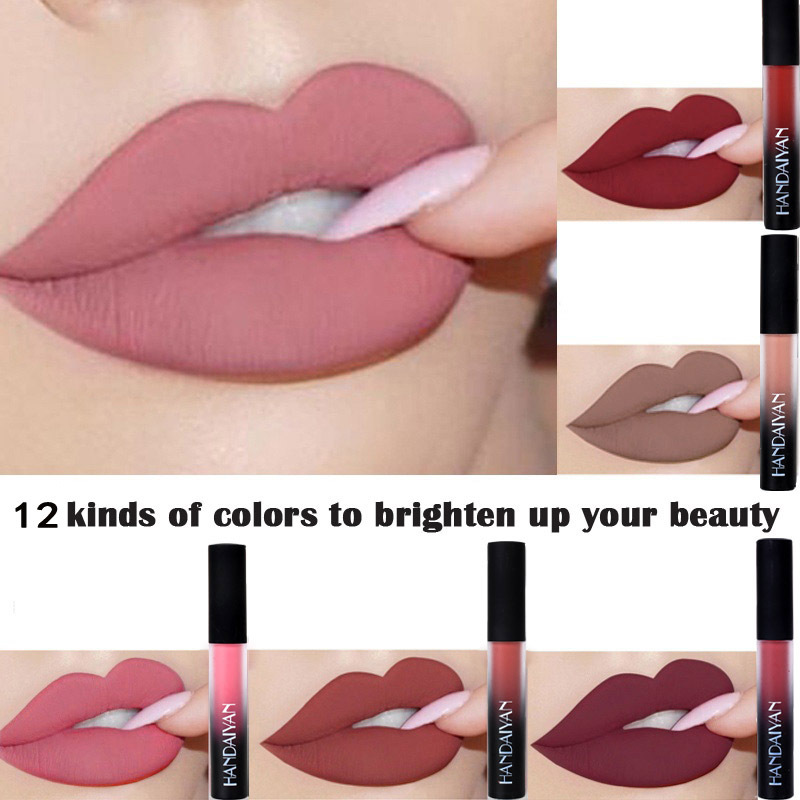12 colori Nude Opaco Velluto Lucido Lip Gloss Rossetto Lip Cream