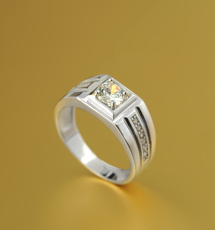Holiday Themed Gift 925 Sterling Silver 1 Carat Diamond Platinum Ring Price In India For Man