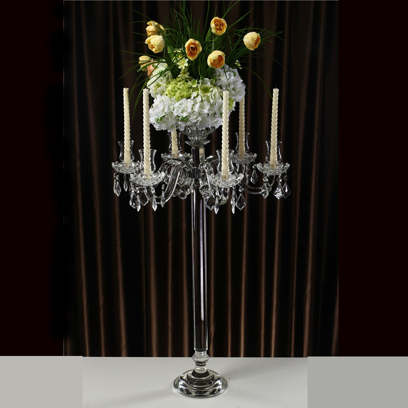 glass hurricane wedding 9 arm candle holder gold crystal wedding table centerpiece holders