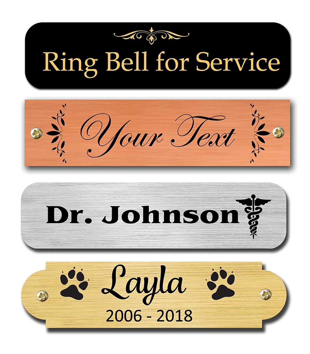 """0.5"""" H x 2"""" W, Brass Nameplates, Metal Plate, Personalized, Custom Engraved Tag, Name Plaque, Square Or Round Corners Made in USA (Satin Brass)"""