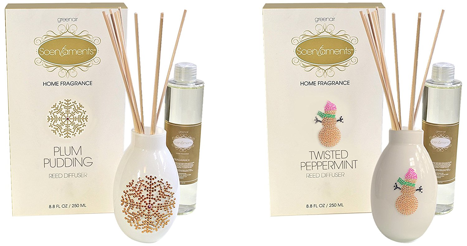 Greenair Holiday Reed Diffuser Set, Plum Pudding and Twisted Peppermint, 8.8 Fl Oz, 2 Count