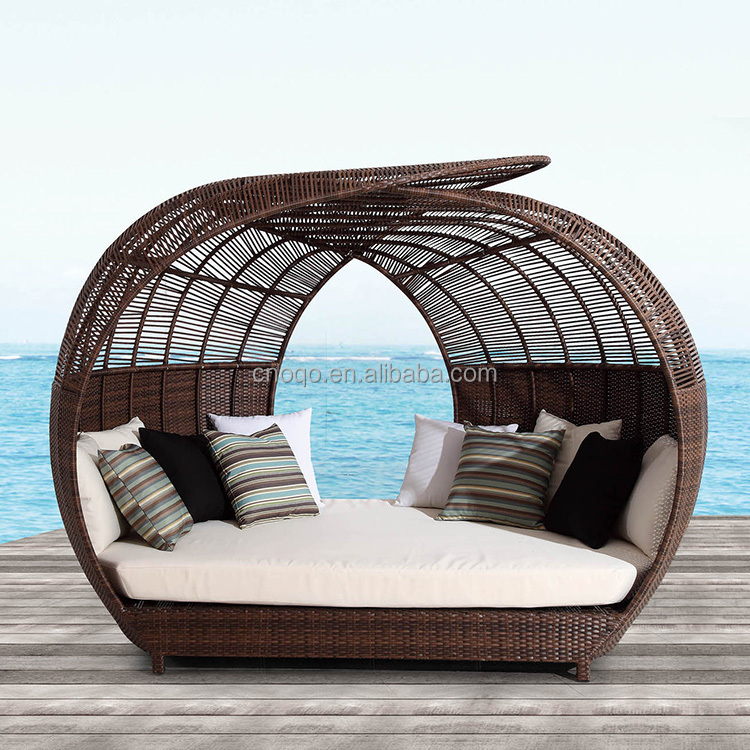 Cheap Leisure Wicker Modern Sun bed Furniture Garden Outdoor Rattan sun Lounger T580