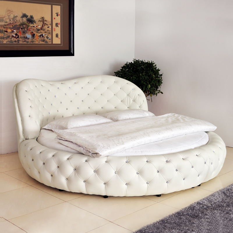 White Purple Cheap King Size Hot Sell Round Beds For Sale