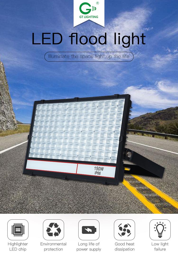 High brightness ultra slim ip66 waterproof  tennis court 30w 100w 150w led flood light