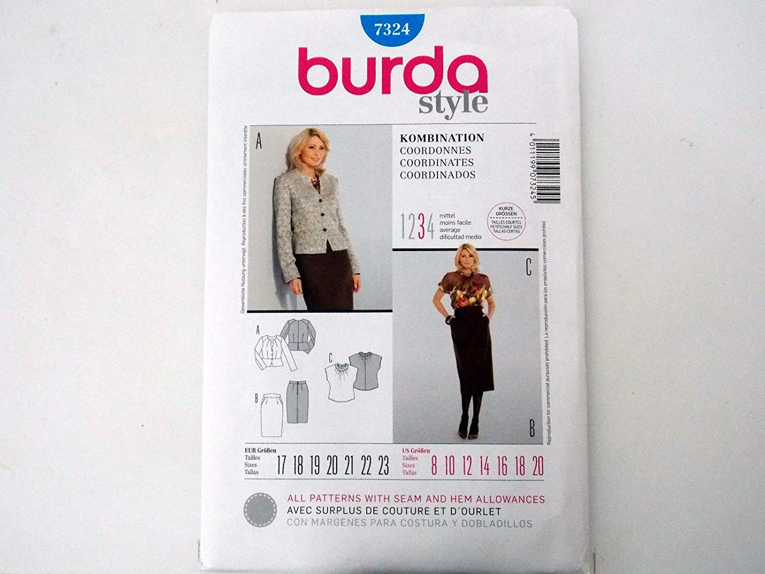 BURDA SEWING PATTERN MISSES' COORDINATES SEMI FITTED # 7324 SIZES 8 THRU 20 ##collectiblemaster