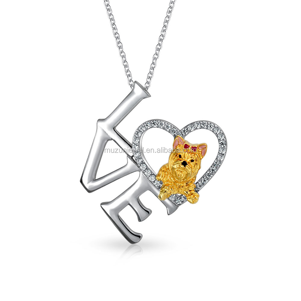 925 Sterling silver love yorkie dog animal charm necklace