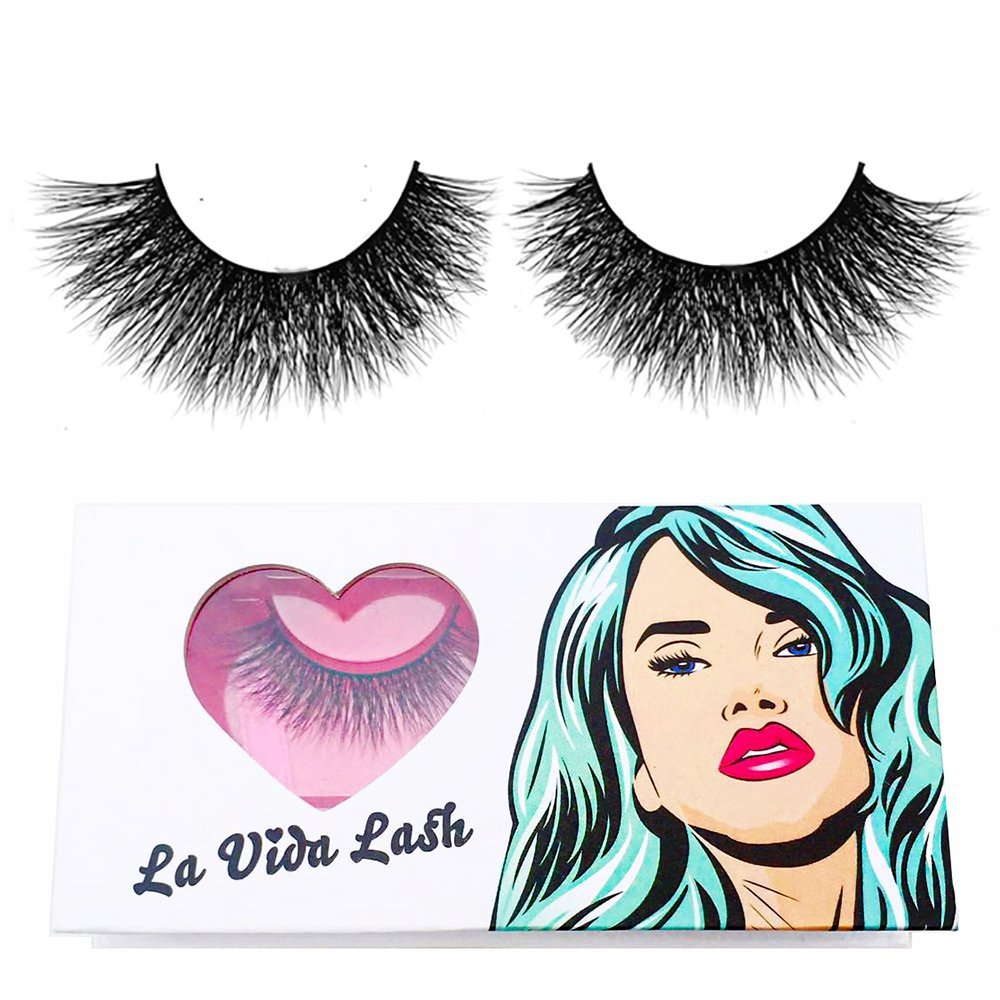 8fc56d10cf1 Get Quotations · Handmade 3D Mink Fur False Eyelashes in style CAT by La  Vida Lash adds the finishing