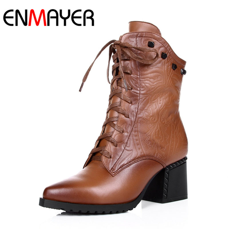 ENMAYER Winter Shoes Women 2016 New Women Boots Size Lace