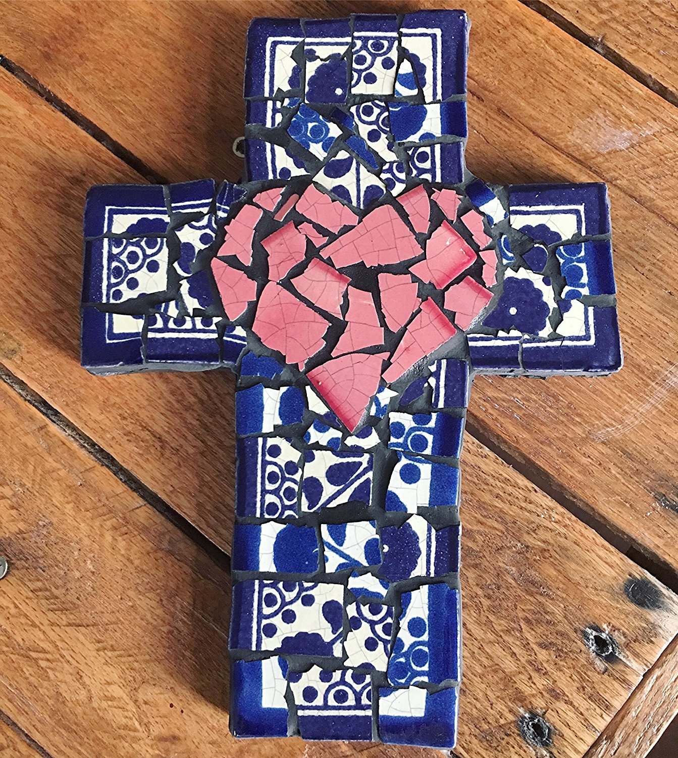 Mexican Tile Talavera Wall Cross 9 inch X 6 inch Handcrafted Mosaic Pink Heart, Blue and White Design Mexican Ceramic tile with Charcoal Grout
