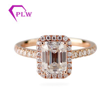 14 k <span class=keywords><strong>or</strong></span> <span class=keywords><strong>rose</strong></span> halo réglage 6x8mm taille <span class=keywords><strong>émeraude</strong></span> moissanite <span class=keywords><strong>bague</strong></span> de fiançailles