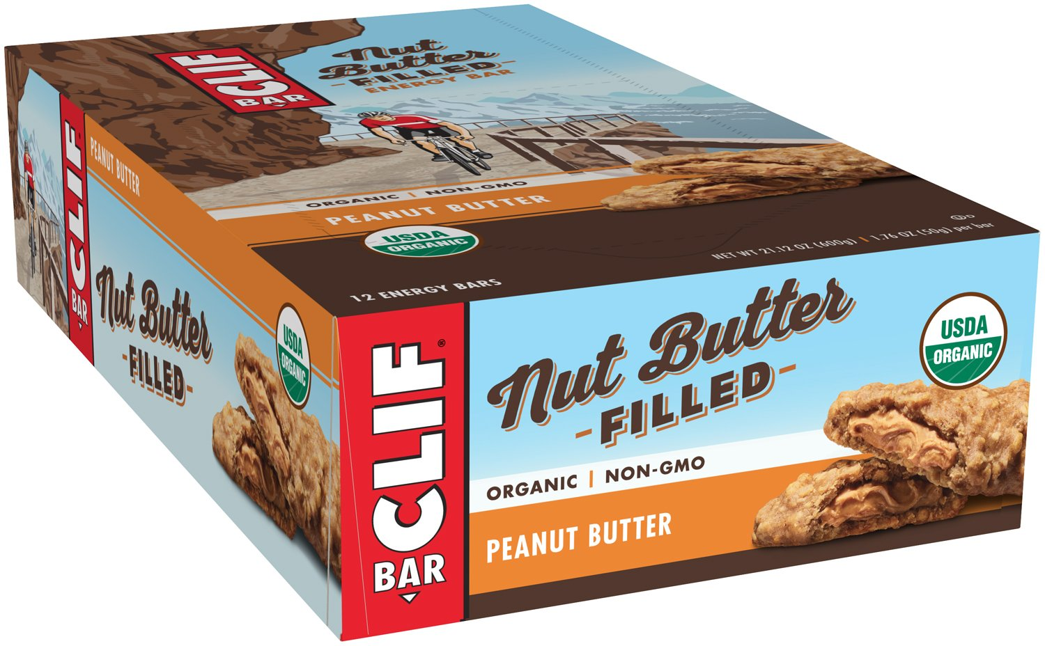 CLIF Nut Butter Filled - Organic Energy Bar - Peanut Butter - 1.76 Ounce Protein Snack Bar, 12 Count