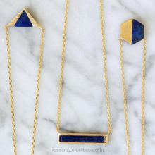 Dainty Gold Layered  Stone Jewelry Women Green Blue Lapis Gemstone Bar Necklace